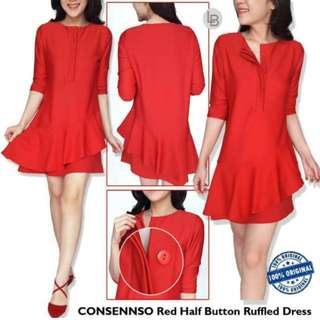 Consennso red half button ruffled dress