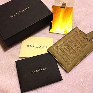 Bvlgari gold mirror with ghw light grey leather cover