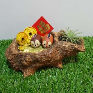 Disney Tsum Tsum Chip & Dale with Ingots and Gold Coins Air Plant