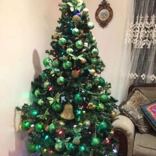 Christmas tree with lights and decorations