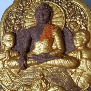 Phra Buddha (Brown meat with Gold painted) wirh monk chevon infront behind with 2 Naga, 1 x Silver Takrut & 1 x Brass Takrut