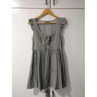 [Glamorous] grey polkadot babydoll dress