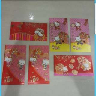 In stock hello kitty ang pao red packet pack of 6   Big size -  can fit $50 without folding.