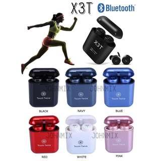門市試音 X3T 無線雙耳藍牙耳機連充電盒套裝 輕觸式設計 (X2T 升級版) Wireless earphones X3T Mini Wireless Bluetooth V4.2 Twins Stereo In-Ear Headset Earphone Earbuds with Charging Box With Mic Support Hands-free Calling iPhone Android