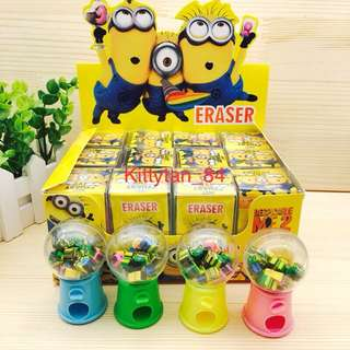 (Instocks now)12 pcs of Brand New Despicable Me (Minions) Mini Eraser Dispenser / Children Day / Prize / Goodie bag / Birthday / Kids / Presents / Disney / Cartoon