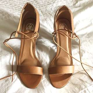 Misguided Brown Block Heels (Size 10)