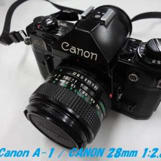 底片 單眼相機 canon a1 28mm f2.8 fd 廣角 鏡頭 含電池