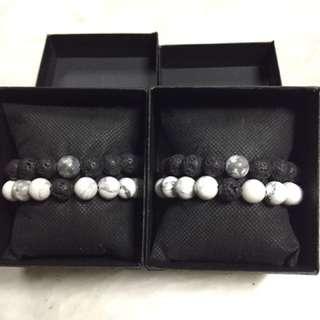 Distance bracelet set (lava rock + howlite)