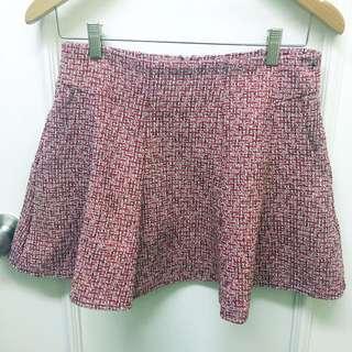 紅粉色半腰傘裙 red pink wool skirt