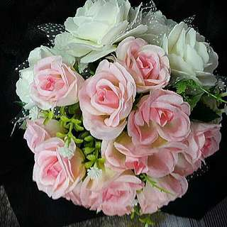 Handmade Sweet White And Pink Rose Bridal Bouquet