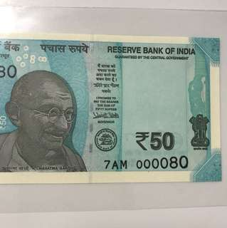Luck no : 80 indian new 50 dollar note