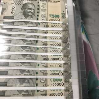 Thousand no's indian new 500 Notes
