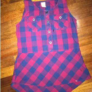 Hush Puppies Plaid Top For Kids