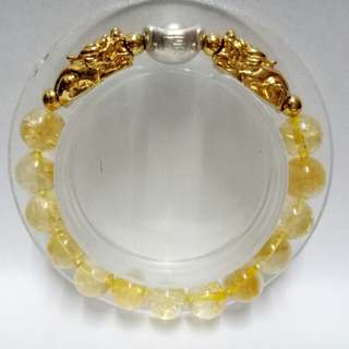 """999 Pure Silver Lucky Ingot Charm with """"福""""  Citrine Gemstones (10mm)  Bracelet with gold-plated Pixius Charms"""