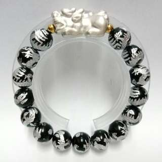 999 Pure Silver Pixiu with Rainbow Obsidian Gemstones (12mm)  Bracelet