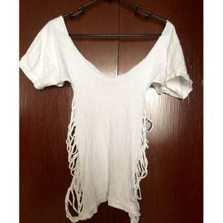 Tattered White Top with Open Side Braids