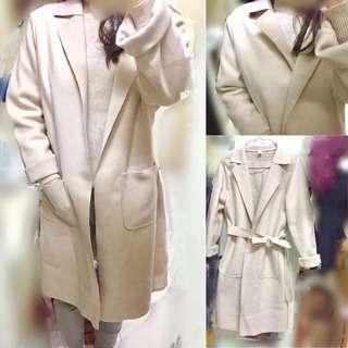 Nude apricot wrapped warm  slim cutting Korea  style winter suit long coat jacket elegant 長身綁帶條腰裸杏色米色西裝外套 大褸毛呢 OL款 女裝
