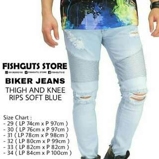 Celana Bikers Jeans Thigh And Knee Rips Soft Blue