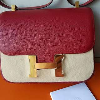 Authentic Hermes Constance 24 rouge grenate ghw stamp X