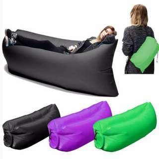 Thick Nylon Inflatable Air Sofa Bed Camping Bag Beach Hangout Couch Wind Bed