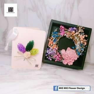 MIE MIE Flower Design💕 乾燥花花圈 + 卡片組合 💕 大款 情人節 新款 花盒組合 乾燥花 卡片 乾燥花束