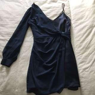 Marciano navy blue two fabric mini dress
