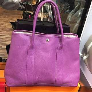 正品 90%新 Hermes Garden Party 36 P9 海葵紫上膊袋