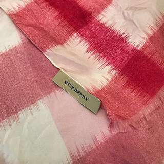 Authentic Burberry pink and white checked scarf
