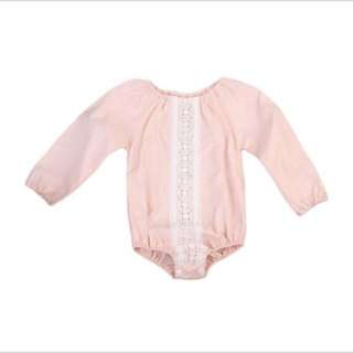 Long sleeve baby girl lace romper