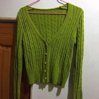 🚚 芥末綠針織麻花小外套