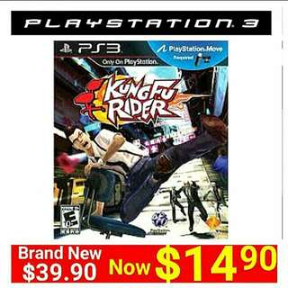 [Brand New] PS3 KUNG FU RIDER (Move Edition - up to 2 players)  Usual.price: $39.90 Special Price: $14.90 + Free Mail Postage  (Brand New & Sealed ) Or  whatsapp 85992490 to  pick Up From any Mrt Stn in Town