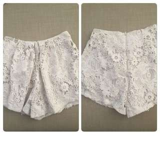 Lace white shorts