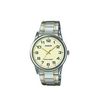 Original Casio Mens two tone stainless steel watch MTP-V001SG-9B