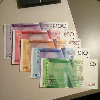 Gibraltar £5 , 10, 20, 50, 100 5pcs set paper UNC