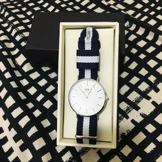[專櫃正品] Daniel weilington DW 基本款 手錶 藍白 銀