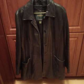Soft black long Danier leather jacket
