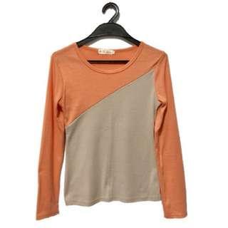 🚚 純棉粉橘拼接淺灰配色圓領長袖上衣