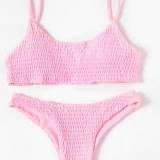 Pink Shirred bikini BRAND NEW Size M