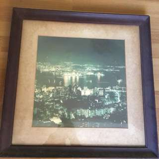 Vintage Hong Kong Harbour Night View Photo 14x14 inch with Frame 21x21 inch 70s 香港 夜景 70年代 相片 舊 匯豐銀行