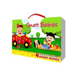 Smart babies book set of 4 (abc, numbers, colors, animals)