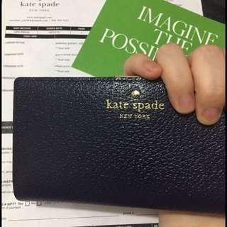 [現貨$520]美國官網直運:Kate Spade GRAND STREET STACY法式深藍色長銀包 女朋友 長銀包