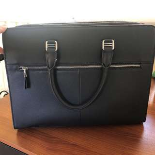 Genuine Leather Navy Briefcase Laptop Bag