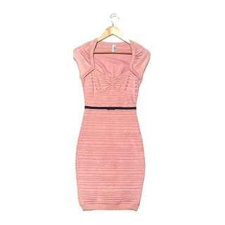 GUESS by MARCIANO rose pink BANDAGE BODYCON KNIT DRESS