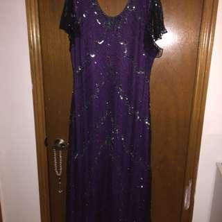 Purple sequins evening dress