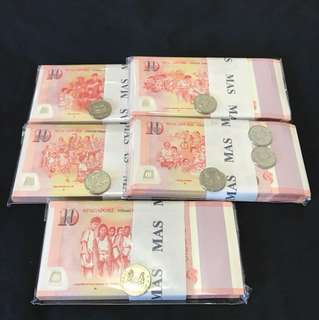 SG50 Commemorative $10 With 100 pcs stack 5 in difference design