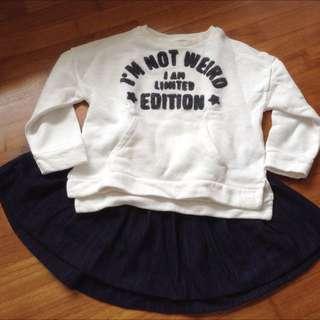 Zara Long Sleeves Sweatshirt With Skirt