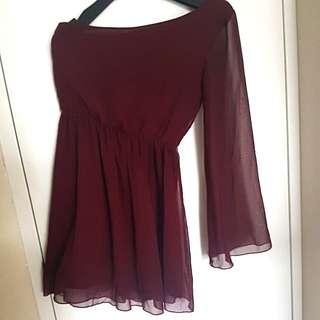 MAROON ONE-SHOULDER DRESS - 8