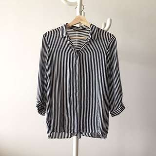 ZARA striped blouse made in morocco