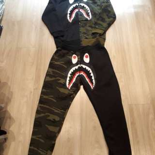 Ready stock BAPE camo coat zipper shark jaw & pants