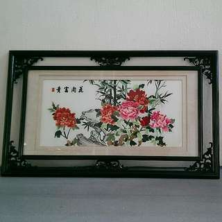 Antique Cloth Sewn Flower Painting With Wooden Frame, Length = 38 Inch & Height = 23 Inch